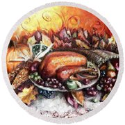 Thanksgiving Dinner Round Beach Towel by Shana Rowe Jackson