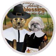 Thanksgiving From The Dogs-2 Round Beach Towel