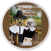 Round Beach Towel featuring the digital art Thanksgiving From The Dogs-2 by Kathy Tarochione