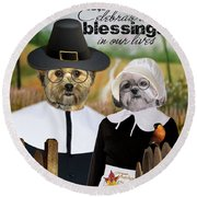 Thanksgiving From The Dogs Round Beach Towel