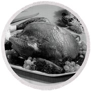 Thanksgiving Turkey Dinner Round Beach Towel