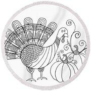 Thanksgiving Turkey Round Beach Towel