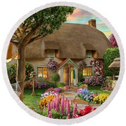 Thatched Cottage Round Beach Towel by Adrian Chesterman