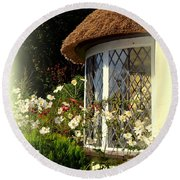 Thatched Cottage Window Round Beach Towel