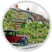 Thatched Cottages At Reybridge Round Beach Towel
