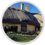 Thatched Roof Cottage Round Beach Towel