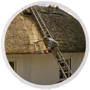 Thatching A Cottage,dunmore East Round Beach Towel