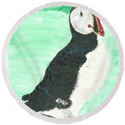 Round Beach Towel featuring the painting That's Another Puffin Year Over by Tracey Williams