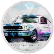 The 1965 Ford Shelby Gt 350  Round Beach Towel