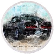 The 1967 Shelby Gt-500 Eleanor Round Beach Towel