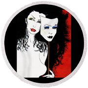 Round Beach Towel featuring the painting The 2 Face Girl by Nora Shepley