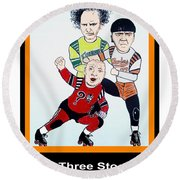 The 3 Stooges Playing Roller Derby Round Beach Towel