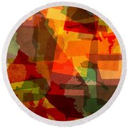 The Abstract States Of America Round Beach Towel