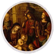 The Adoration Of The Kings Round Beach Towel