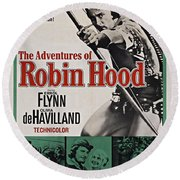 The Adventures Of Robin Hood B Round Beach Towel