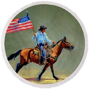 The All American Cowboy Round Beach Towel