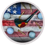 The All American Golfer Round Beach Towel