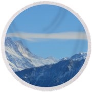 The Alps In Azure Round Beach Towel by Felicia Tica