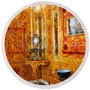 The Amber Room At Catherine Palace Round Beach Towel