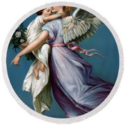 The Angel Of Peace For I Phone Round Beach Towel by Terry Reynoldson
