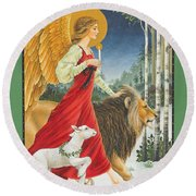 The Angel The Lion And The Lamb Round Beach Towel