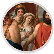 The Anger Of Achilles Round Beach Towel by Jacques-Louis David