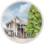 The Angles Of A Modern Architecture  Round Beach Towel by Danuta Bennett