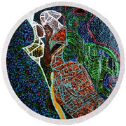 Round Beach Towel featuring the painting The Annunciation by Gloria Ssali