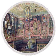 The Arabian Hall In The Catherine Palace At Tsarskoye Selo, C.1850 Wc & White Colour On Paper Round Beach Towel