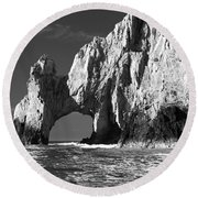 The Arch Cabo San Lucas In Black And White Round Beach Towel by Sebastian Musial