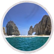 Round Beach Towel featuring the photograph The Arch  Cabo San Lucas On A Low Tide by Eti Reid
