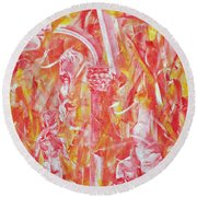 The Art Of Sculptures Round Beach Towel