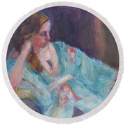 Inner Light - Original Impressionist Painting Round Beach Towel