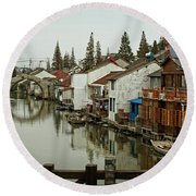 Round Beach Towel featuring the photograph The Asian Venice  by Lucinda Walter
