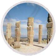The Atlantean Columns On Top Of Pyramid B, Pre-columbian Photo Round Beach Towel