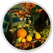 The Autumn Chair Round Beach Towel by Rodney Lee Williams