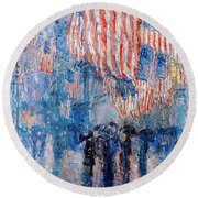 The Avenue In The Rain Round Beach Towel by Frederick Childe Hassam