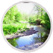The Babbling Stream Round Beach Towel