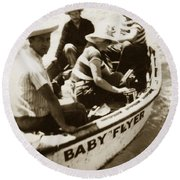 The Baby Flyer With Ed Ricketts And John Steinbeck  In Sea Of Cortez  1940 Round Beach Towel
