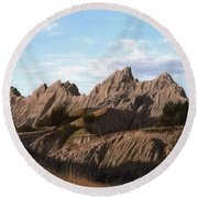 The Badlands In South Dakota Oil Painting Round Beach Towel