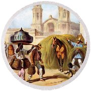 The Baker And The Straw Seller, 1840 Round Beach Towel