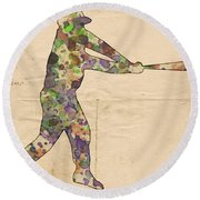 The Baseball Player Round Beach Towel by Florian Rodarte