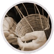The Basket Weaver Round Beach Towel by Marcia Socolik