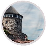 The Bath House On Ministers Island Nb Round Beach Towel