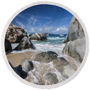 The Baths At Virgin Gorda Bvi Round Beach Towel