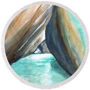 The Baths Turquoise Round Beach Towel by Carlin Blahnik