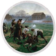 The Battle Of Lexington, 19th April 1775 Round Beach Towel