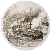 The Battle Of Yalu River, 1894 Round Beach Towel