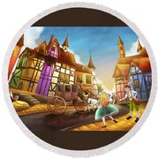 The Bavarian Village Round Beach Towel by Reynold Jay