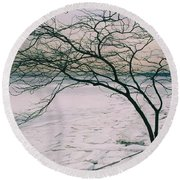 Round Beach Towel featuring the photograph The Bay After The Storm by Dora Sofia Caputo Photographic Art and Design